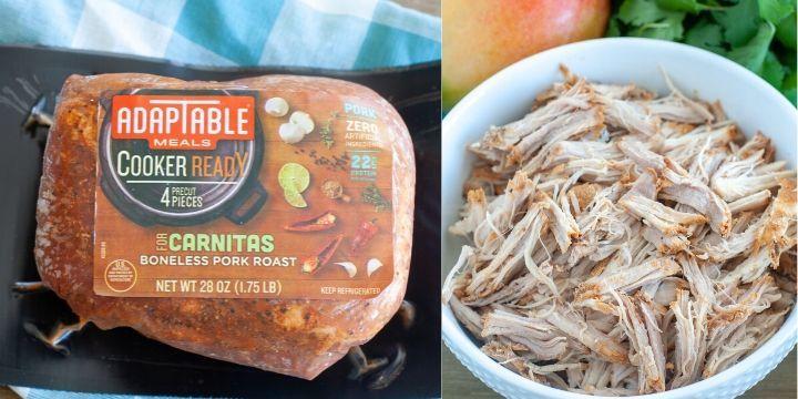 Adaptable Meal Pork Roast in packaging, Bowl with shredded carnitas