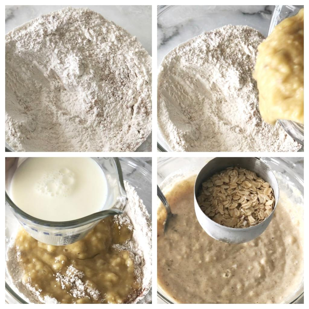 Flour, mashed bananas, milk and oats