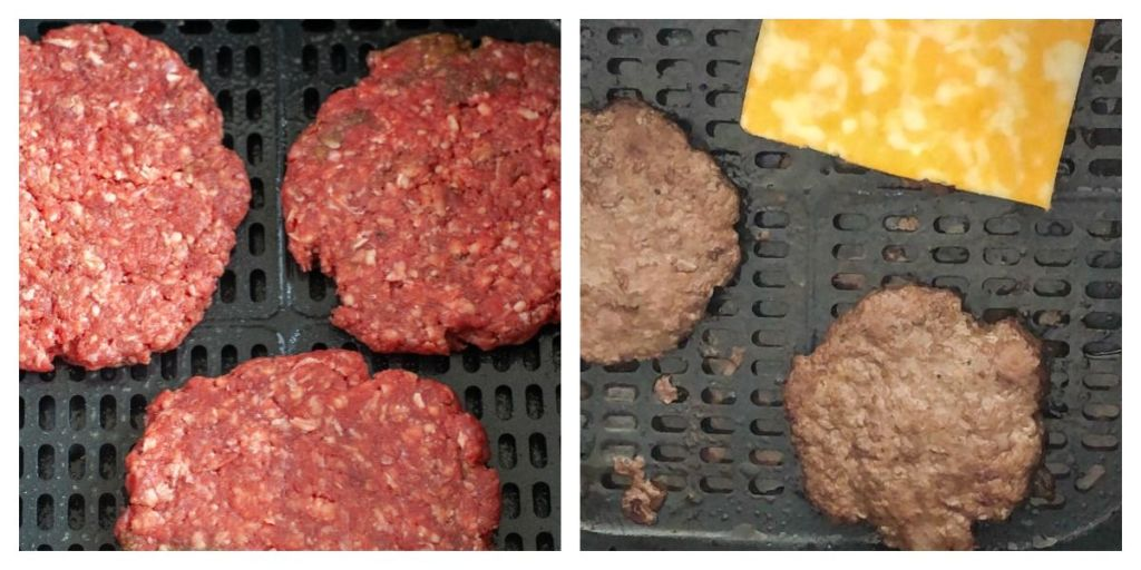 uncooked hamburger patties and cooked hamburgers with cheese