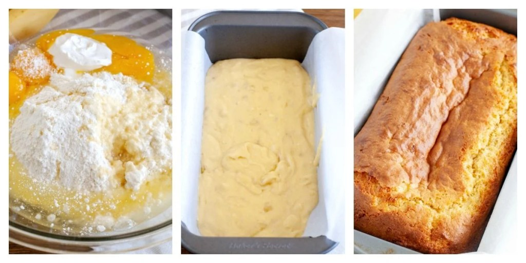 bowl with eggs, cake mix, banana and pan with batter, baked bread