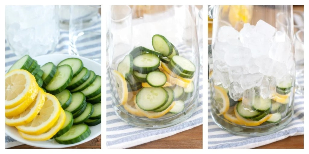sliced cucumbers and lemon on plate, in a pitcher and covered with ice