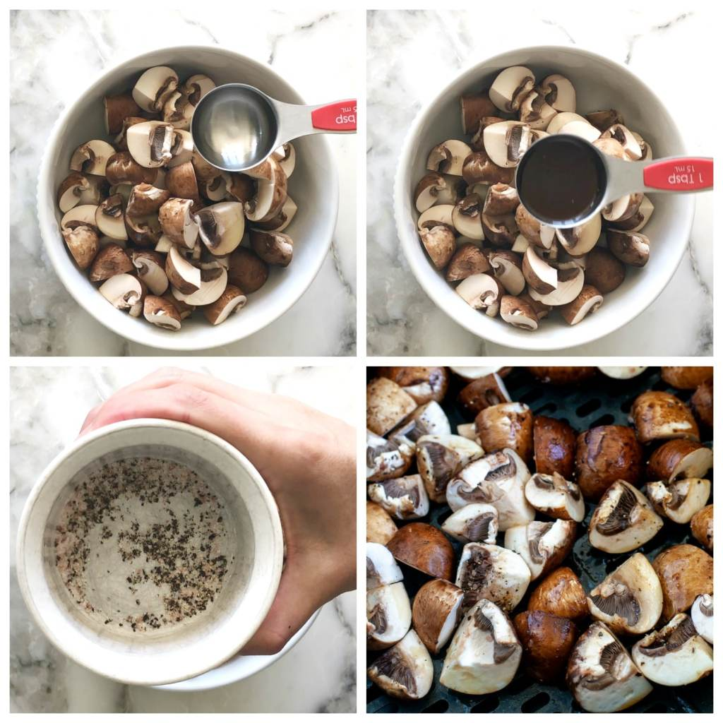 bowl of mushrooms with olive oil, worcestershire and seasoning