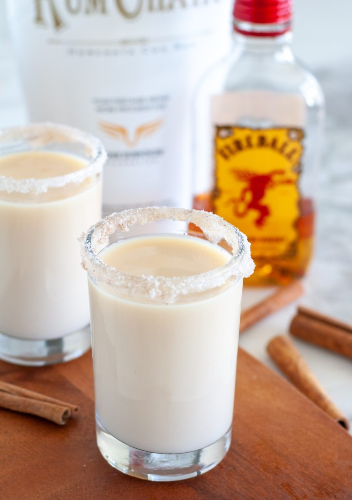 Shot glasses with fireball and rumchata