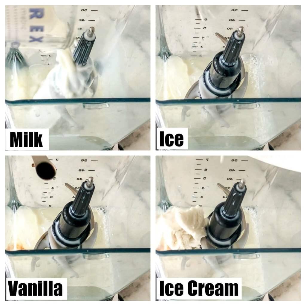 blender with ice, milk, ice cream and vanilla
