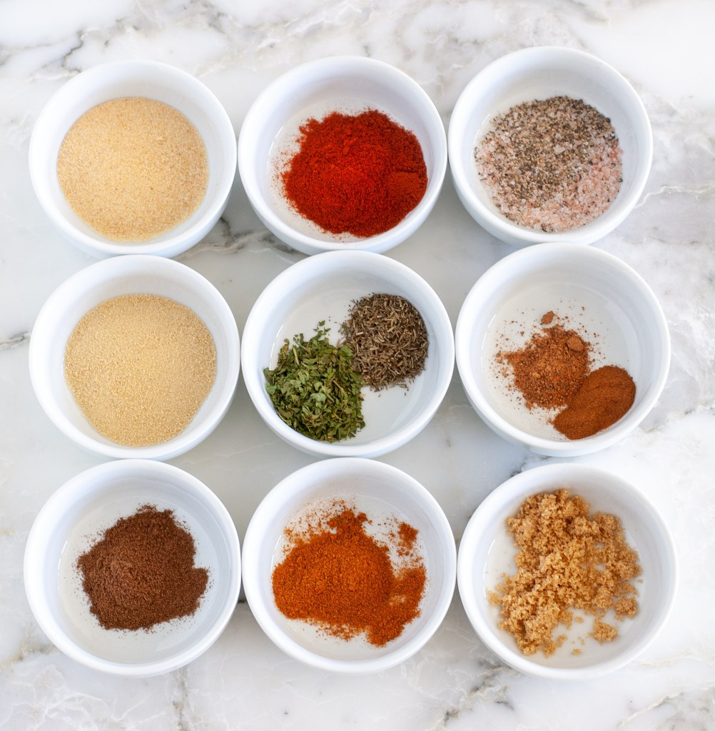 Spices separated into 9 bowls