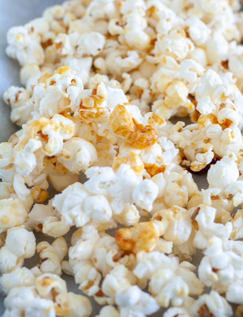 Popcorn on parchment paper