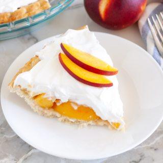peach cream pie on a plate