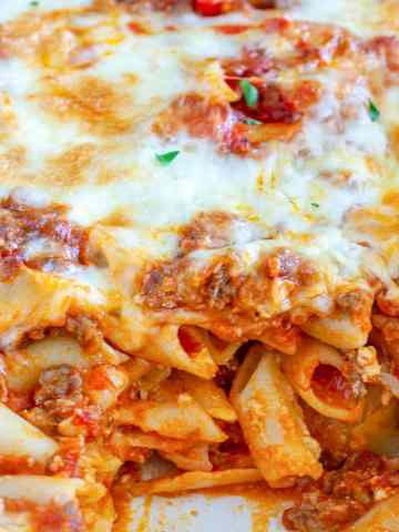 Baked Mostaccioli in a casserole dish