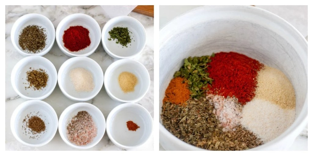 Spices in small white bowls and then combined into one bowl