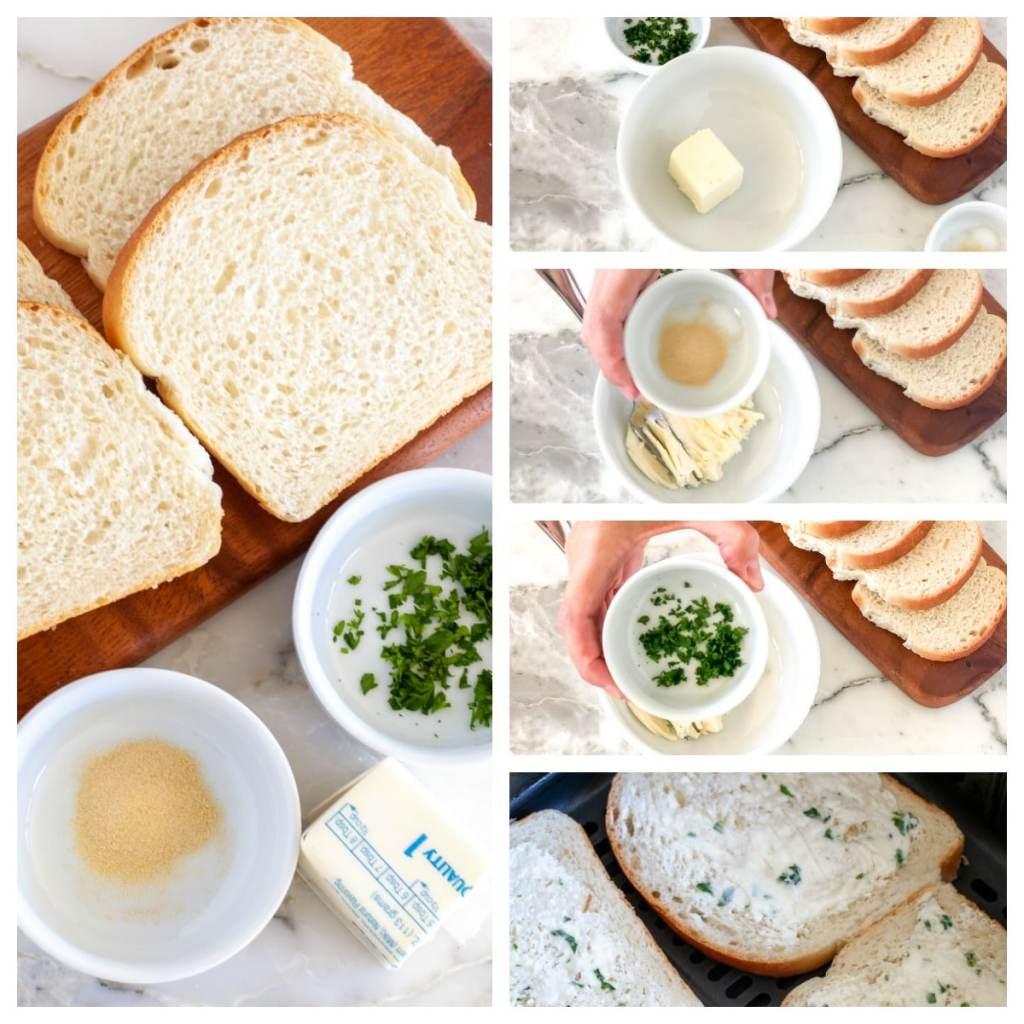 Bread, butter, garlic powder, parsley