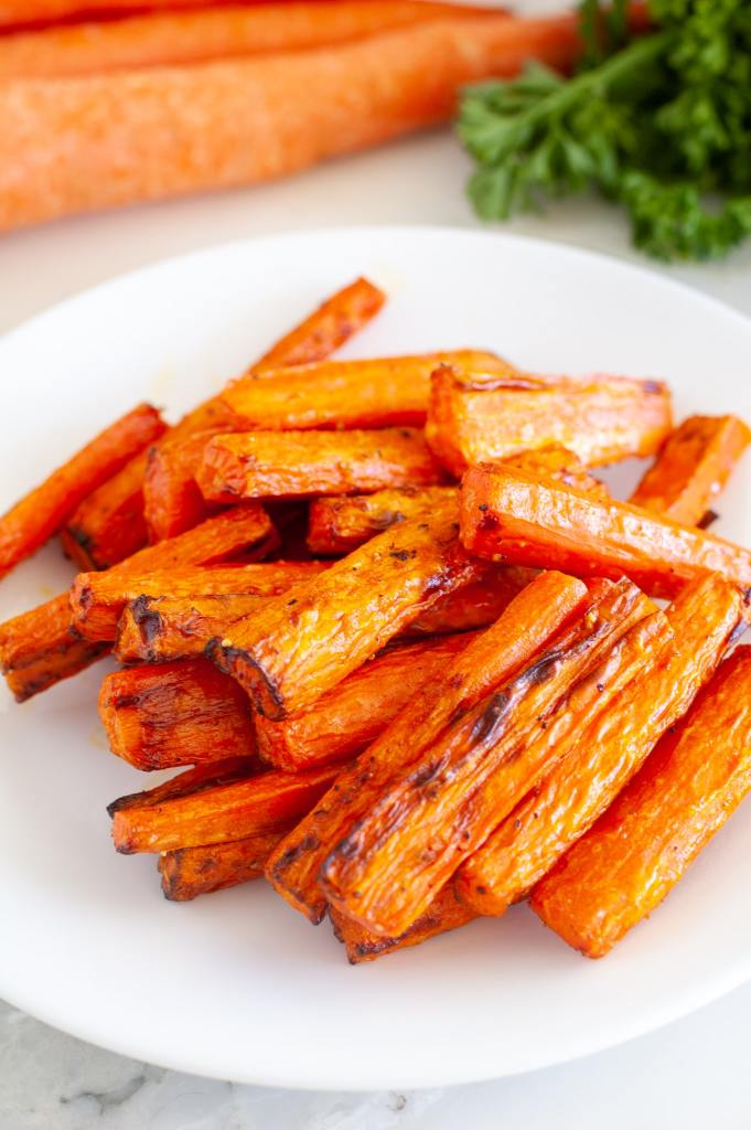 Roasted carrots on a plate