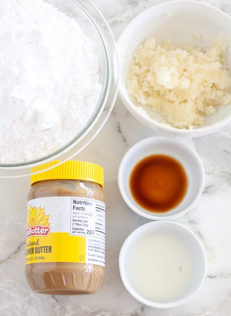 powdered sugar, peanut butter, mashed potato, milk, vanilla