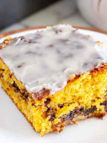 pumpkin honey bun cake on a plate
