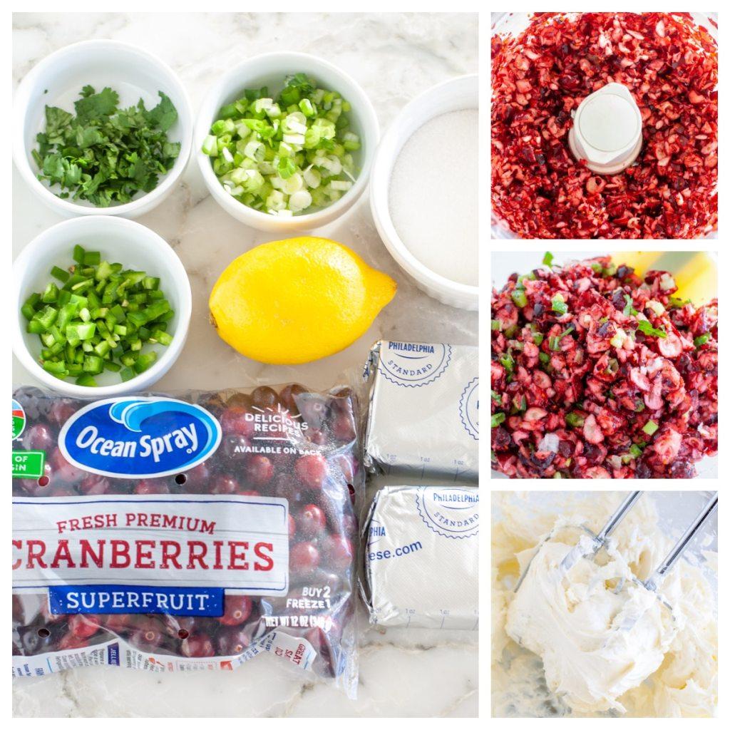 Cranberries, sugar, cream cheese, lemon, and jalapenos.