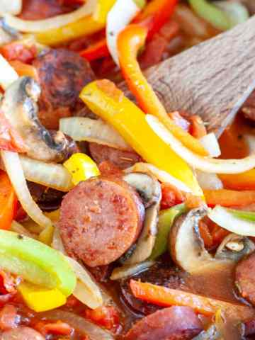 Sausage, peppers and onions in skillet.