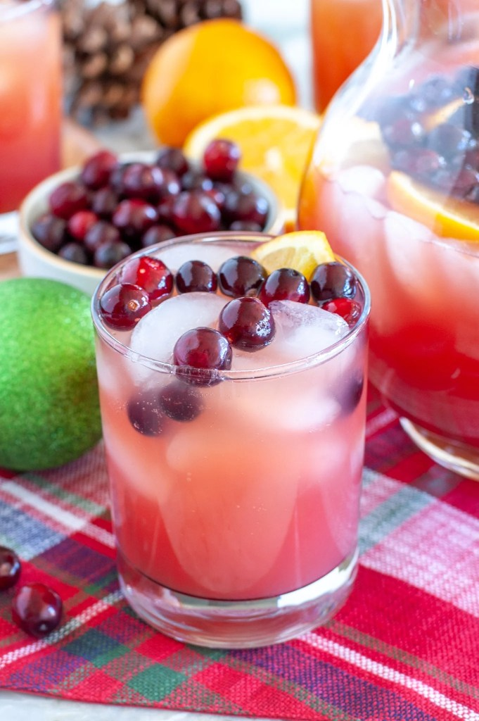 Punch in a glass with cranberries