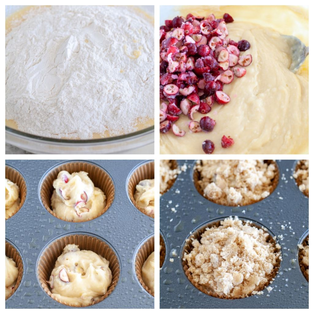 Muffin batter in a bowl, then in muffin cups.