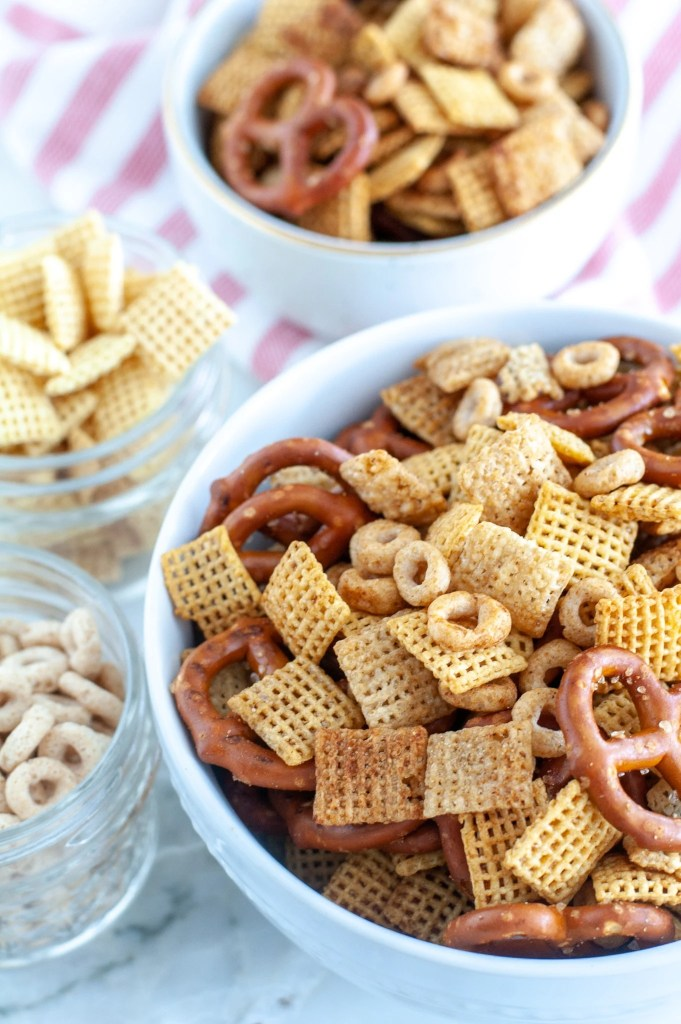 Bowl of snack mix, bowl of chex,