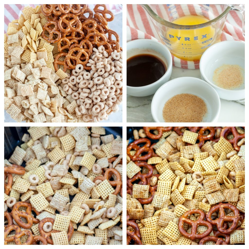 Chex mix in a bowl with butter and seasonings.