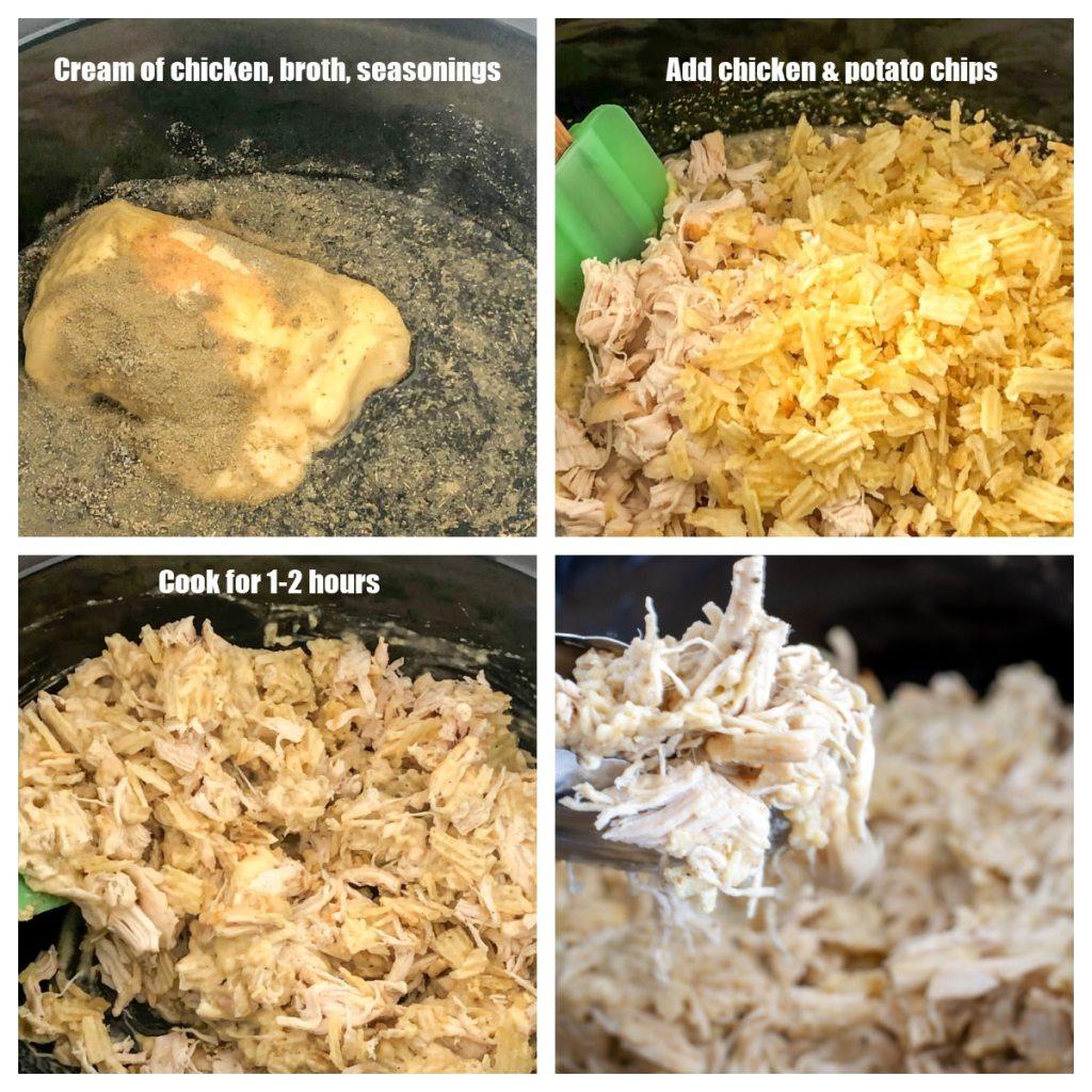Yavaş tencerede kremalı tavuk, baharat, tavuk ve patates cipsi.
