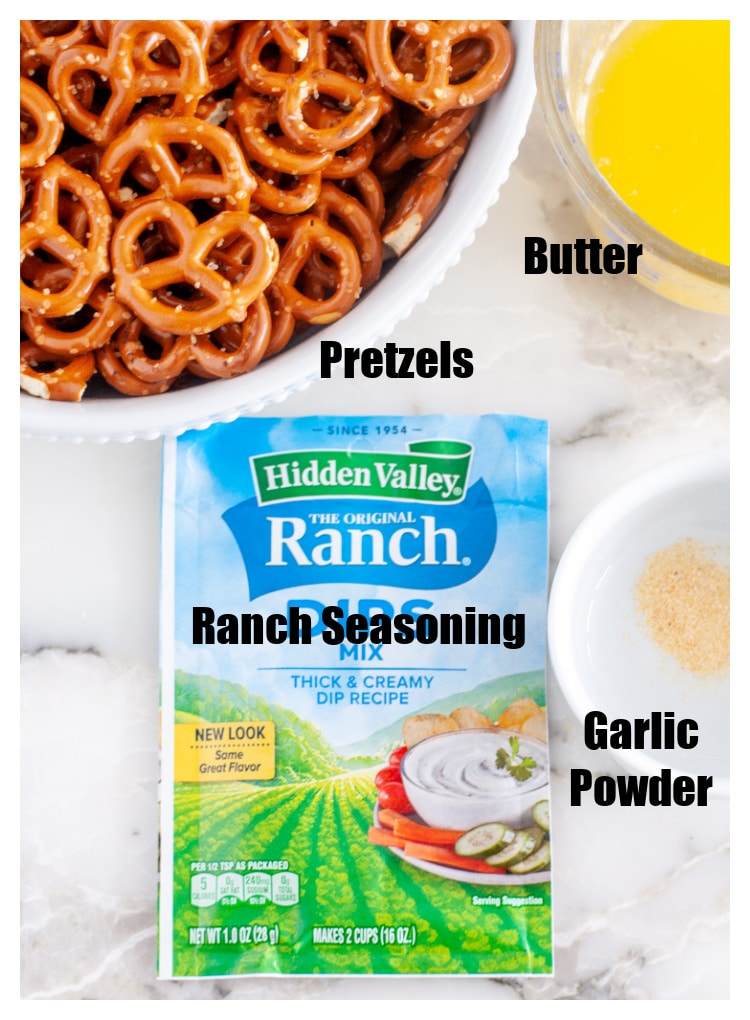 Butter, ranch seasoning pack, garlic powder, pretzels
