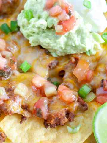 Plate of beef nachos.