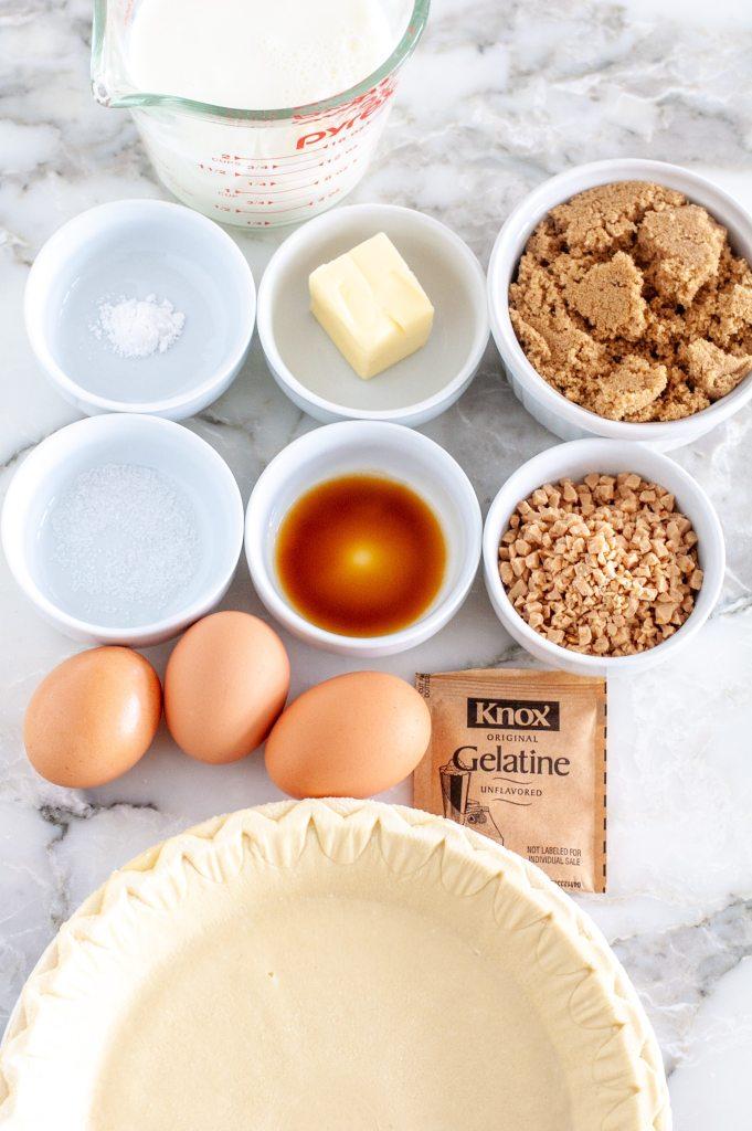 Pie crust, eggs, gelatin pack, brown sugar.
