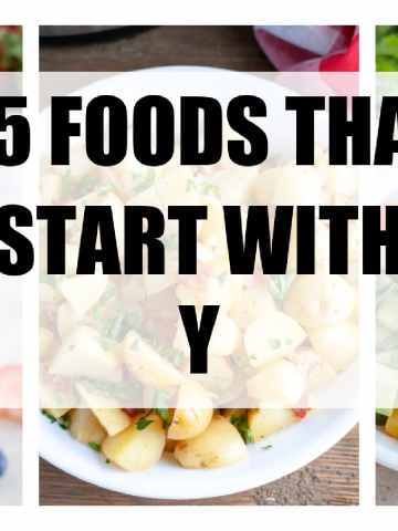 "Words ""25 foods that start with y""."