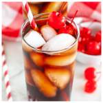 Glass with red straw and cola.