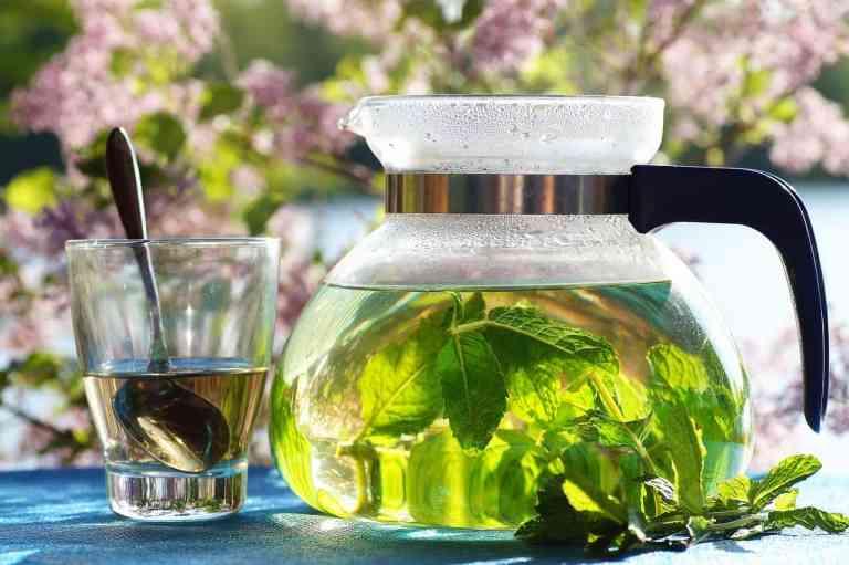 Kanne und Glas mit Tee