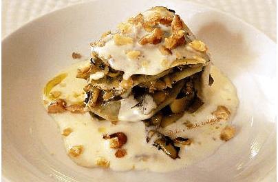 Millefoglie di patate e castraure con fonduta di gorgonzola e noci