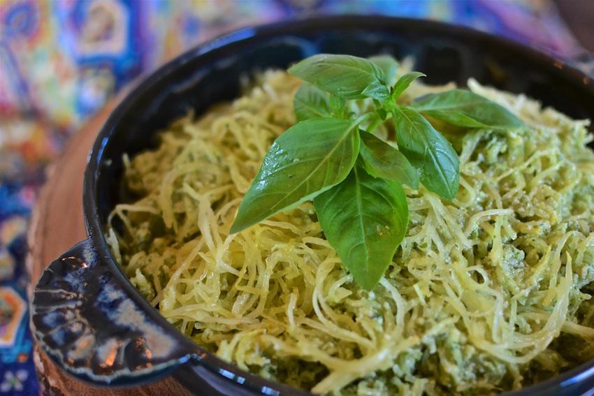 Easy Cashew Basil Pesto with Spaghetti Squash Noodles