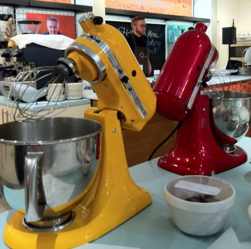 Yellow and Red Kitchenaid Mixer at Fortnum and Mason, London