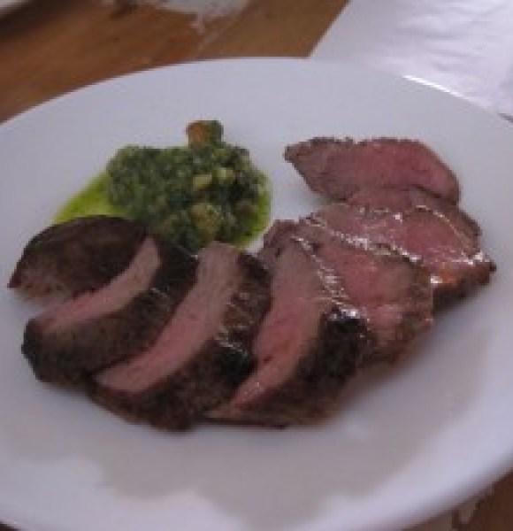 Grilled Lamb with Hazelnut and Parsley Salsa, Bravas, Bristol