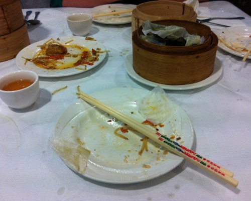 Empty Plates and Dim Sum Steamers at Mayflower Chinese Restaurant, Bristol