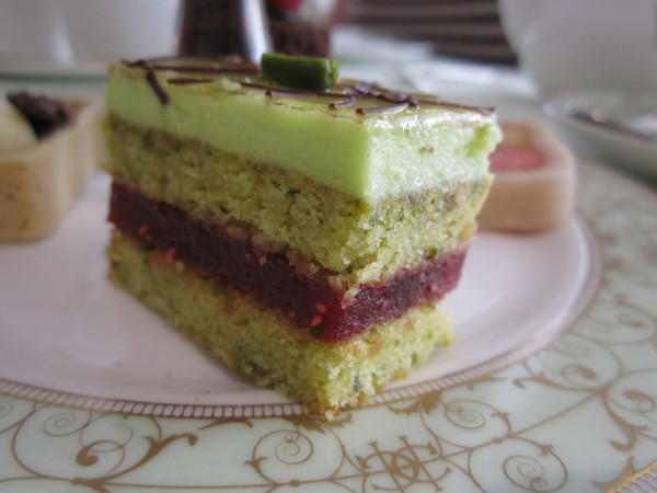 A Pistachio and Raspberry Slice