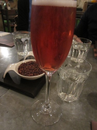 Glass of Bubbles at Hotel Chocolat, School of Chocolate, London