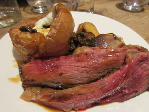 Roast Sussex Beef, Yorkshire Pudding, Roast Vegetables, Smoked Potatoes, Mushrooms Duxelles and Horseradish Curd, Rabbit, London