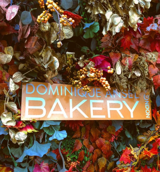 Dominique Ansel Bakery, London, Sign with Autumn Foliage