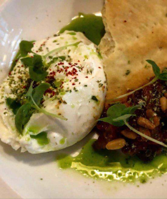 Burrata with Striata Aubergine Caponata with Pine Nuts and Basil. at Pasta Ripiena, Bristol
