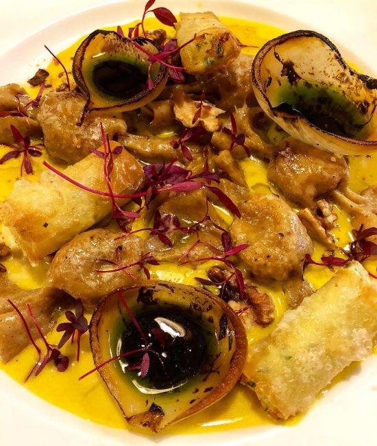 Caramelle with Heritage Pumpkin, Véloute, Walnuts and Goats' Cheese Spring Rolls at Pasta Ripiena, Bristol