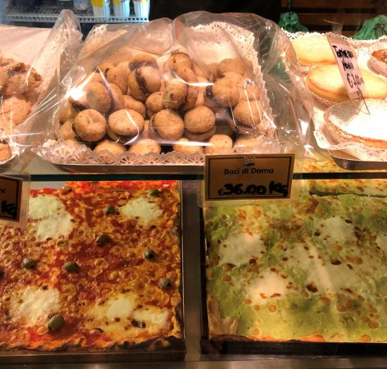 Focaccia Counter at Focacceria San Lorenzo, on Genoa Italy Food Tour