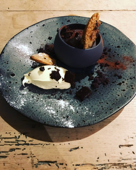 Rich Chocolate Mouse with Coffee Liqueur Jelly with Homemade Mascarpone at The Cauldron Restaurant, Bristol