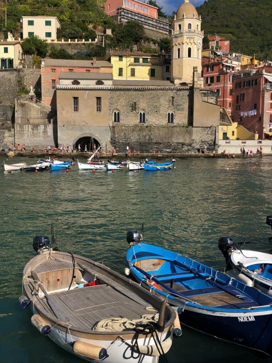 Boats and Church by Vernazza marina, Cinque Terre, Italy