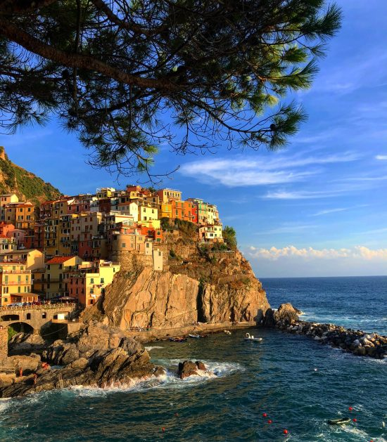 Manarola, Cinque Terre, Italy View of the Cliff and Sea