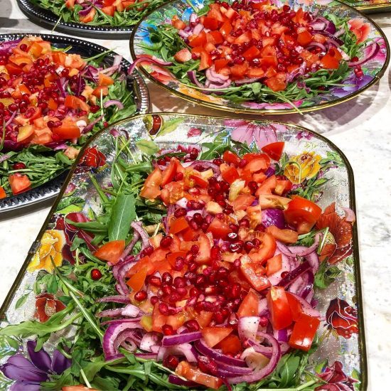 Garden and Rocket Salad with Pomegranate Seeds and Marinated Red Onions at 91 Ways Supper Club, Bristol