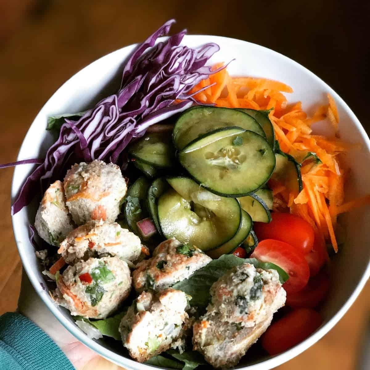Thai Chicken Meatball Bowl