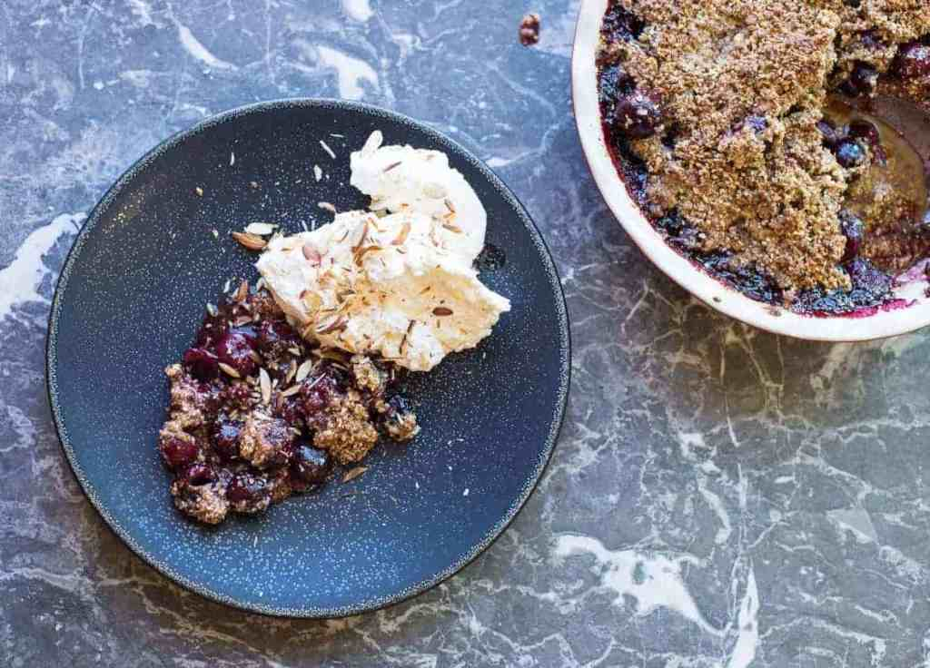 Cherry Crumble With Whipped Almond Cream