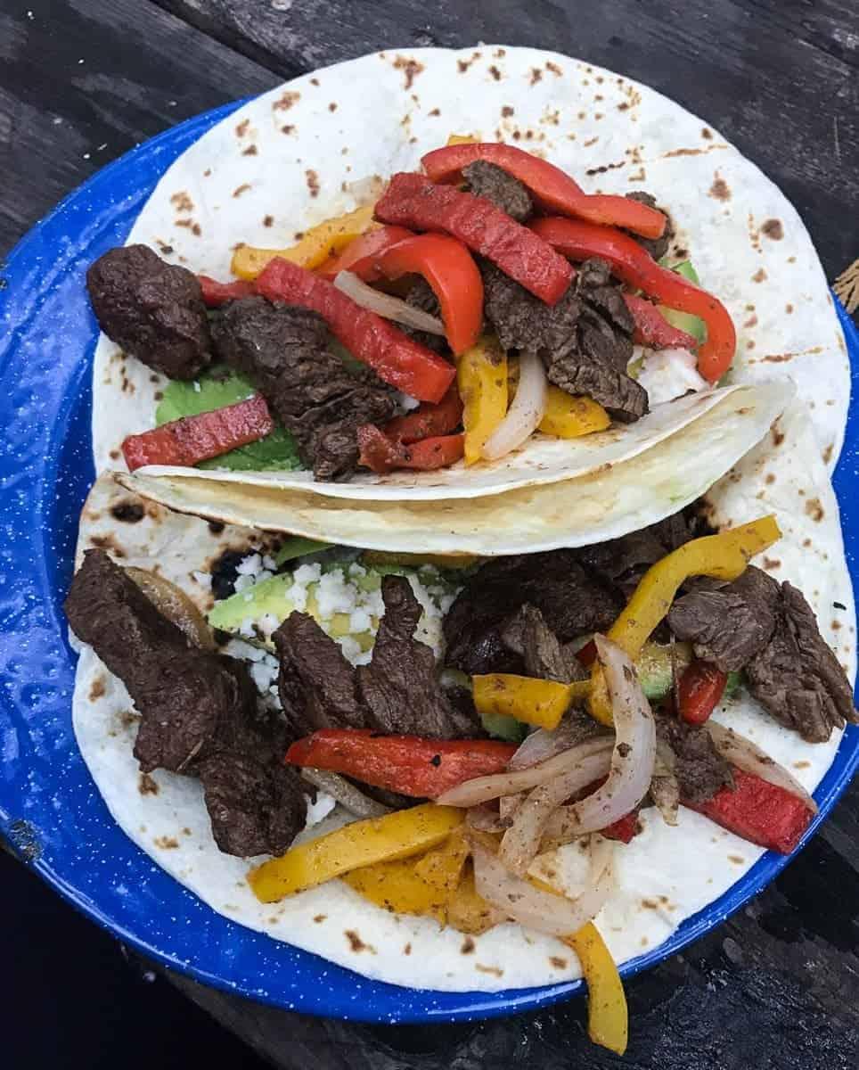 Super easy camping recipe for Beef Fajitas