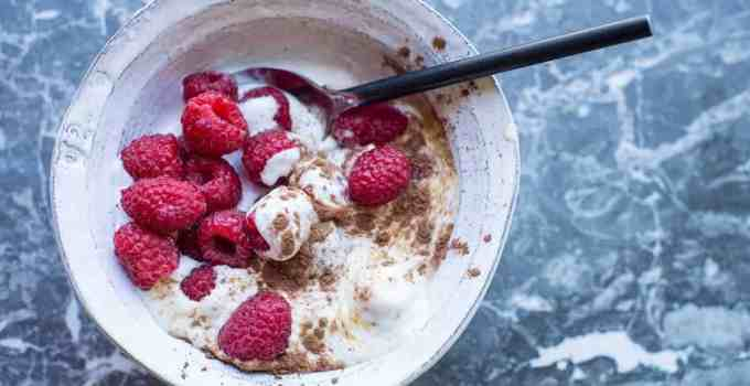 Fresh Raspberries with Coconut Cream